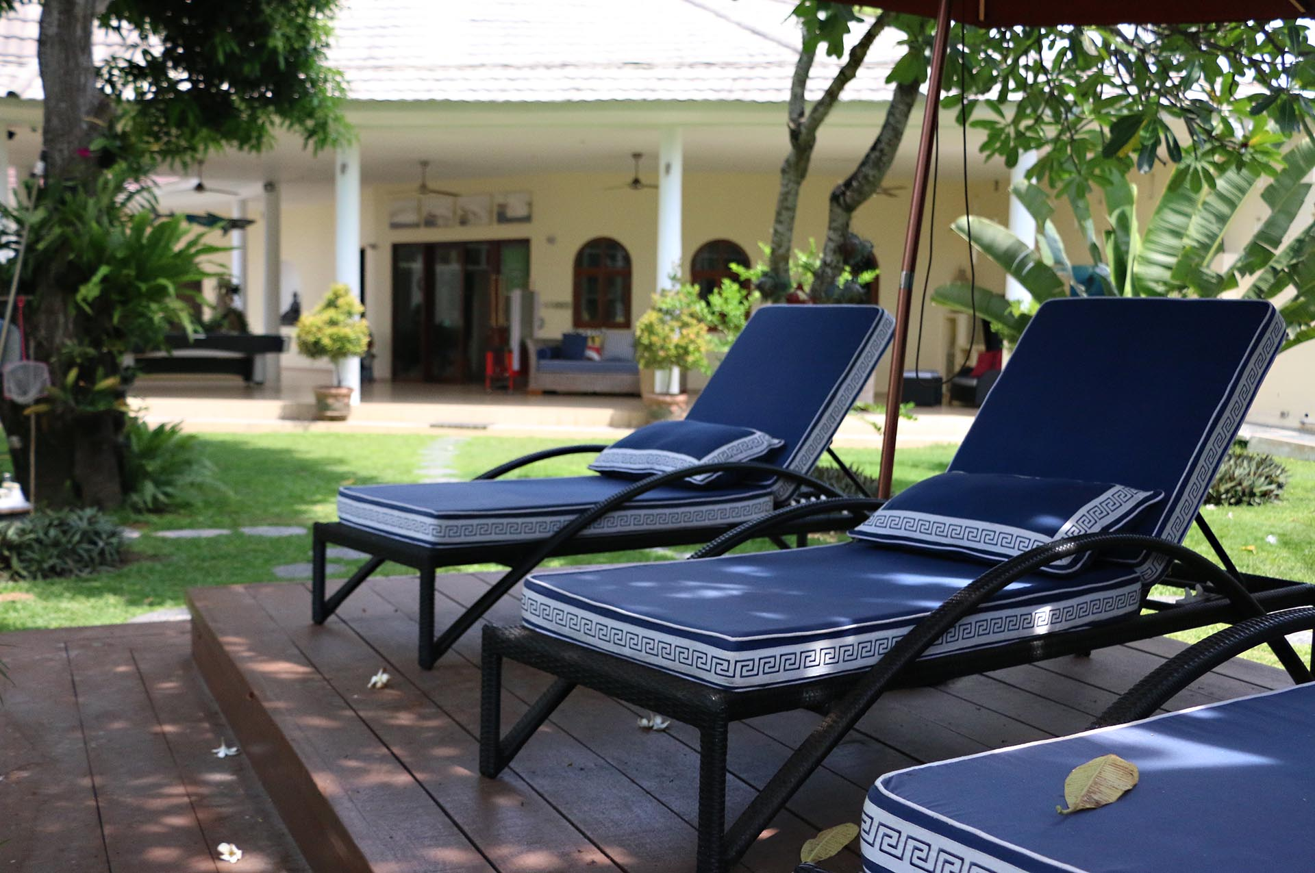 Relaxing loungers at Villa Costa Plenty